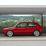 Red Volkswagen Golf Mk1 on silver BBS wheels