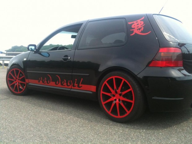 VW Golf Red with Black Rims