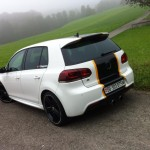 White VW Golf R with black-yellow stripe – Pascal Siegmann