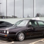 Black VW Golf Mk2 GTI on silver rims