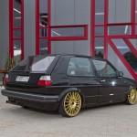 Black VW Golf Mk2 on golden ATS wheels