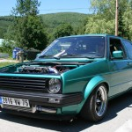 Montana green Golf Mk2 with spiked wheels