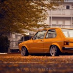 Orange VW Mk1 Rabbit on Nothelle N Classics wheels