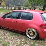 Red Volkswagen Golf Mk7 on BBS rims