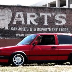 Red VW Golf Mk2 on silver VW wheels