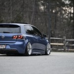 Blue VW Golf VI R with silver wheels