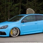 Blue VW Golf Mk6 GTI on OZ Racing beige wheels