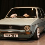 Baby blue VW Golf Mk1 with silver wheels