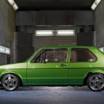 Green Volkswagen Mk1 on silver 5 star wheels