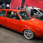 Red VW Golf Mk1 with silver rims
