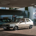 Beige VW Golf Mk2 on Mercedes wheels