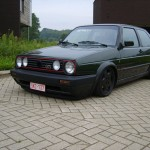 VW Golf Mk2 GTI on black wheels