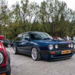 Blue VW Mk2 G60 on silver BBS wheels