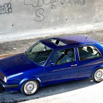 Dark blue VW Golf Mk2 wiith silver wheels