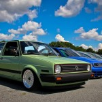 Green VW Golf Mk2 with white wheels
