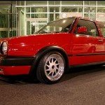 Red VW Golf Mk2 GTI on OZ Racing Turbo rims