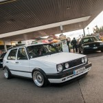White Volkswagen Mk2 on silver wheels