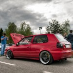 Red VW Golf Mk3 with black wheels