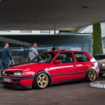 Red Volkswagen Golf Mk3 on 5 star wheels