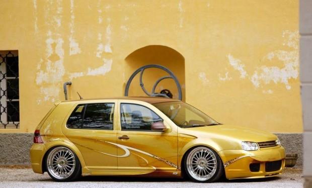 vw golf mk  gold metallic paint vw golf tuning