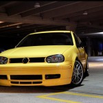 Yellow VW Mk4 with tinted windows