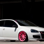 White Mk5 GTI with pink wheels