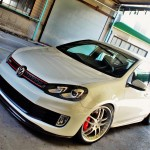 White VW Golf Mk6 GTI on silver rims