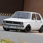 White VW Golf Mk1 G60 on black Porsche rims