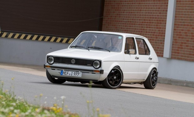 White vw golf mk1 g60 on black porsche rims vw golf tuning