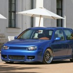 Blue VW Golf Mk4 GTI with silver BBS wheels