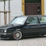 Black VW Mk2 G60 Turbo with Porsche chrome wheels