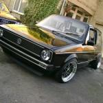 Black VW Mk1 with silver rims
