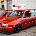 Red VW Mk3 with Porsche rims