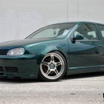 Dark green VW Mk4 with silver rims