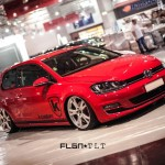 Red VW golf Mk7 with silver wheels
