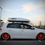 White VW Golf Mk6 with red rims