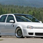 White VW Golf Mk4 on silver BBS wheels