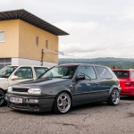 Grey VW Golf Mk3 on silver Porsche wheels