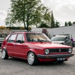Red VW Golf Mk1 on Ronal Teddy Bear silver wheels
