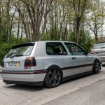 Silver VW Golf Mk3 GTI on black wheels