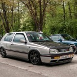 Silver VW Mk3 with black hood