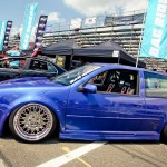 Blue Volkswagen Golf Mk4 on silver wheels