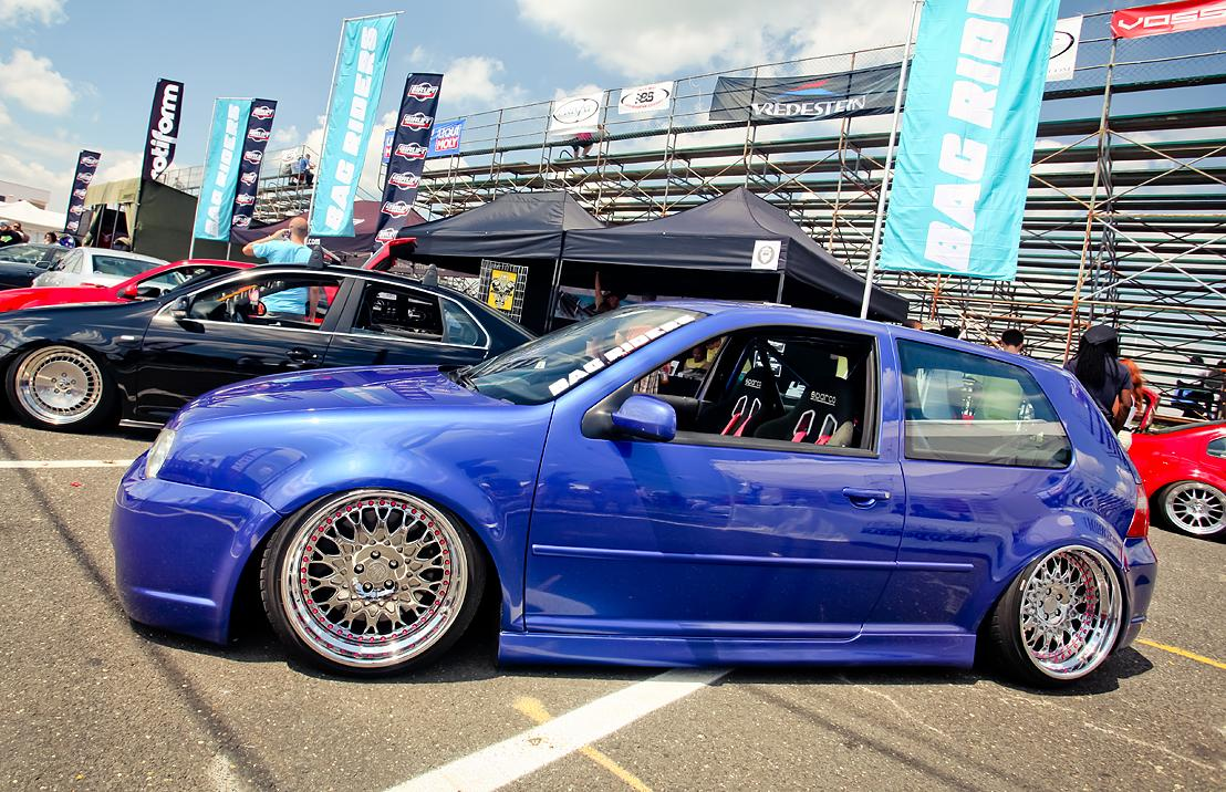 Blue Volkswagen Golf Mk4 On Silver Wheels Vw Golf Tuning