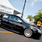 Black VW Golf Mk5 on silver wheels