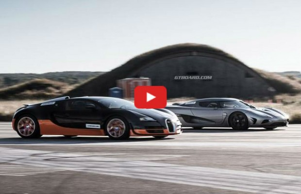 video the drag race of the year bugatti veyron vs koenigsegg agera r vw golf tuning. Black Bedroom Furniture Sets. Home Design Ideas