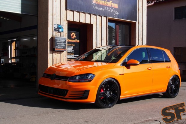 vw golf 7 gti toxic orange wrap by schwabenfolia vw golf. Black Bedroom Furniture Sets. Home Design Ideas
