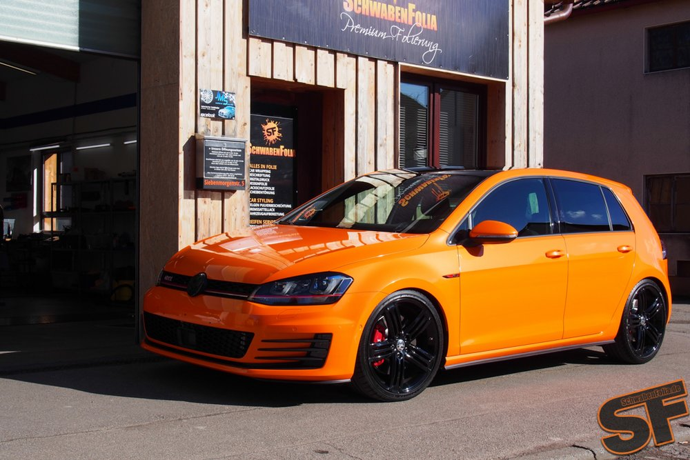 vw golf 7 gti toxic orange wrap by schwabenfolia vw golf tuning. Black Bedroom Furniture Sets. Home Design Ideas