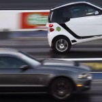Video: It's Smart vs. Mustang, and you won't guess which one wheelstands
