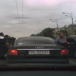 Video: Pedestrian narrowly escapes drifting Mustang, Audi doesn't!