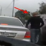 This was a serious case of road rage…until the back window rolled down (VIDEO)